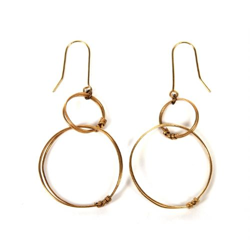 Brass Ribbon Double Hoop Earrings